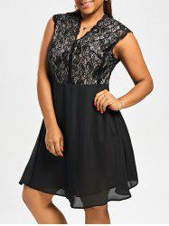 Plus Size V Neck Lace Trim Dress -