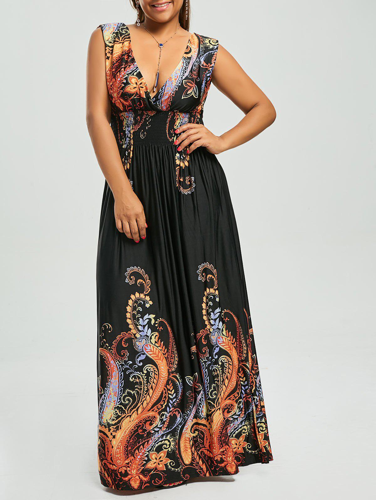 Paisley Plunge Maxi Evening Dress for Plus SizeWOMEN<br><br>Size: 3XL; Color: BLACK; Style: Bohemian; Material: Cotton,Cotton Blend,Polyester; Silhouette: Beach; Dresses Length: Floor-Length; Neckline: Plunging Neck; Sleeve Length: Sleeveless; Waist: Empire; Pattern Type: Paisley,Print; With Belt: No; Season: Spring,Summer; Weight: 0.3800kg; Package Contents: 1 x Dress;