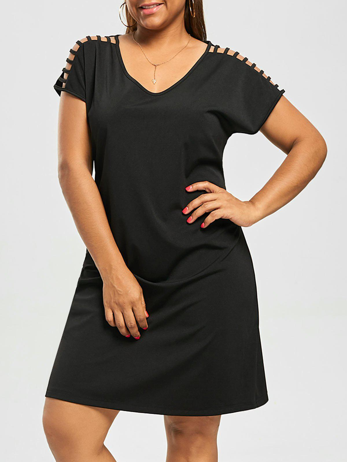 Stripy Short Sleeve Plus Size Tee DressWOMEN<br><br>Size: 4XL; Color: BLACK; Style: Casual; Material: Polyester,Spandex; Silhouette: Straight; Dresses Length: Knee-Length; Neckline: V-Neck; Sleeve Type: Batwing Sleeve; Sleeve Length: Short Sleeves; Waist: Natural; Embellishment: Hollow Out; Pattern Type: Solid Color; Elasticity: Elastic; With Belt: No; Season: Summer; Weight: 0.3000kg; Package Contents: 1 x Dress;