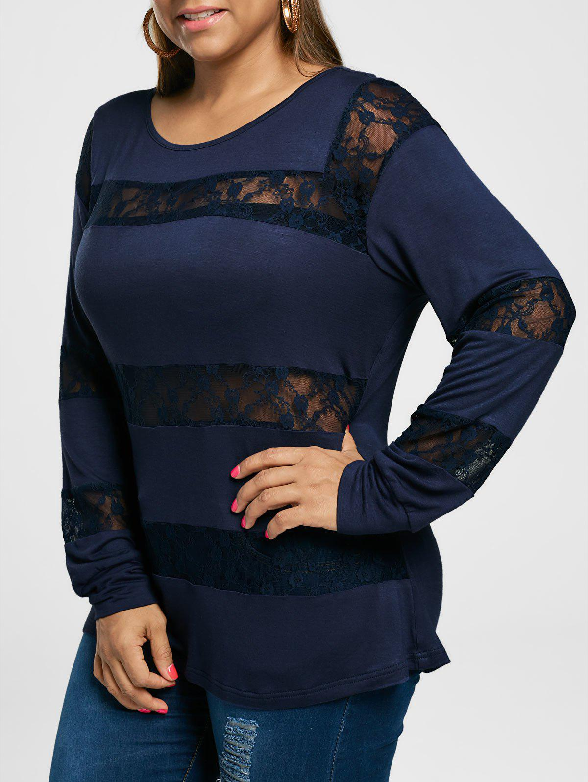 Plus Size Lace Insert Long Sleeve TeeWOMEN<br><br>Size: 4XL; Color: PURPLISH BLUE; Material: Rayon; Shirt Length: Long; Sleeve Length: Full; Collar: Scoop Neck; Style: Casual; Season: Summer; Pattern Type: Solid; Weight: 0.2500kg; Package Contents: 1 x Top;