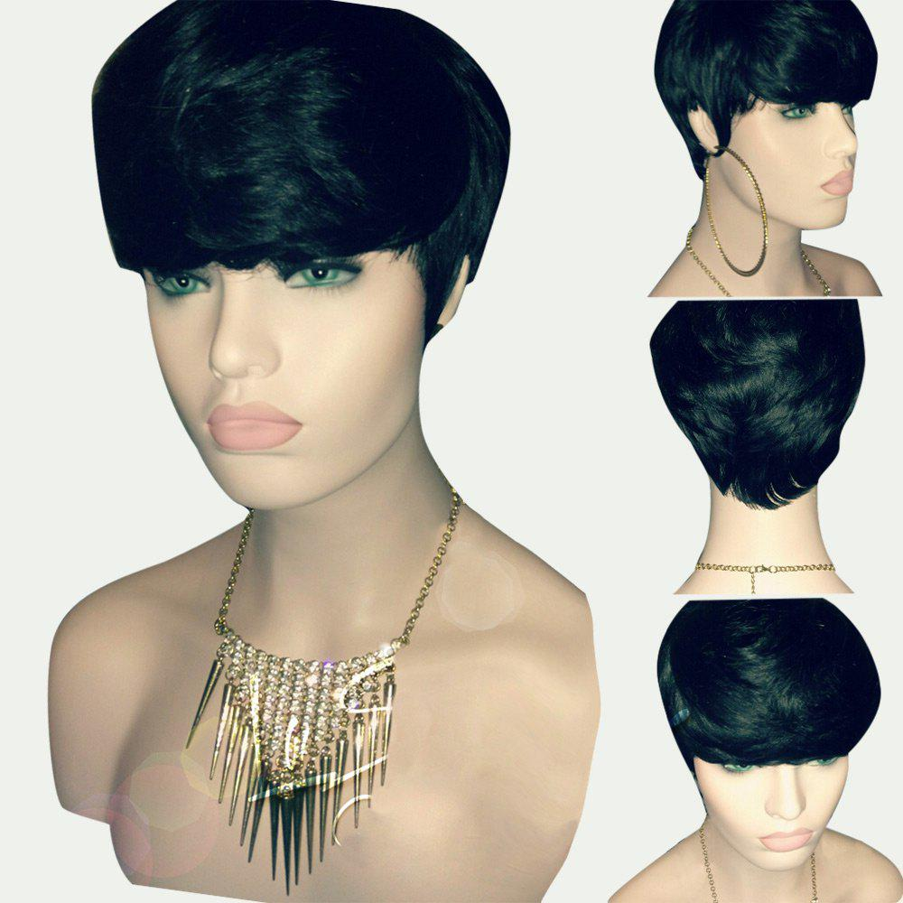 Short Layered Textured Straight Synthetic WigHAIR<br><br>Color: BLACK; Type: Full Wigs; Cap Construction: Capless; Style: Straight; Material: Synthetic Hair; Bang Type: Side; Length: Short; Length Size(CM): 25; Weight: 0.1030kg; Package Contents: 1 x Wig;