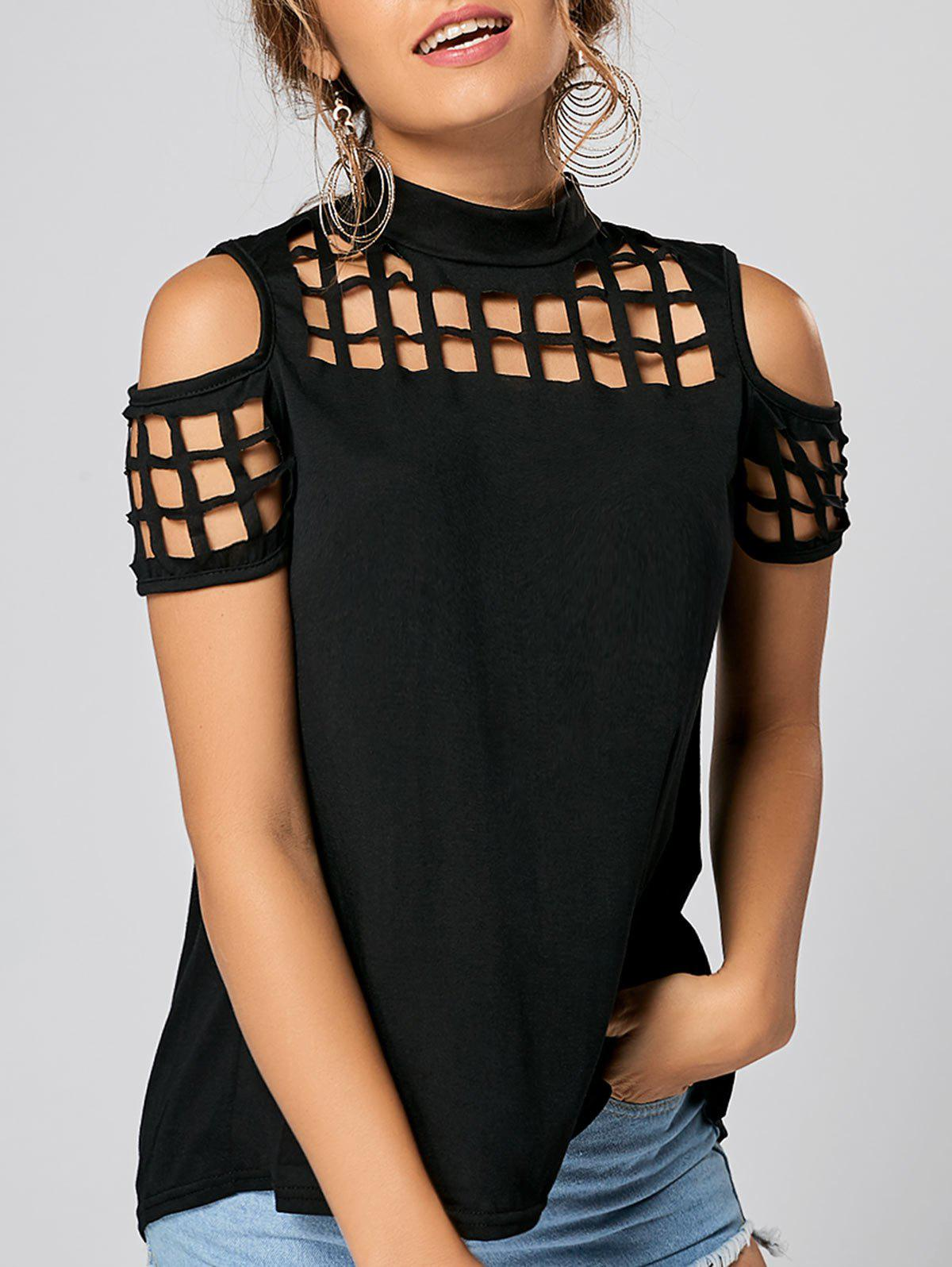 Back Slit Cold Shoulder Cut Out TopWOMEN<br><br>Size: M; Color: BLACK; Material: Polyester; Shirt Length: Regular; Sleeve Length: Short; Collar: High Collar; Style: Fashion; Season: Summer; Pattern Type: Solid Color; Weight: 0.3500kg; Package Contents: 1 x Top;