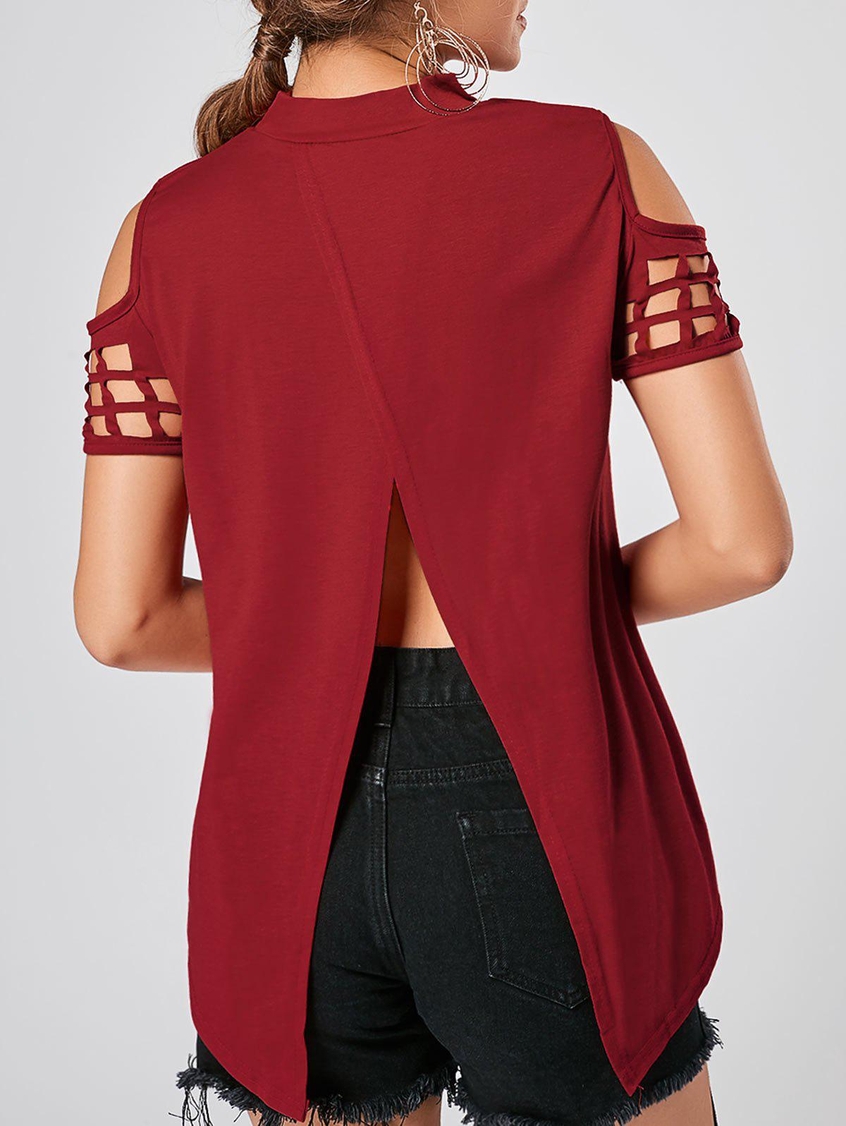 Back Slit Cold Shoulder Cut Out TopWOMEN<br><br>Size: L; Color: RED; Material: Polyester; Shirt Length: Regular; Sleeve Length: Short; Collar: High Collar; Style: Fashion; Season: Summer; Pattern Type: Solid Color; Weight: 0.3500kg; Package Contents: 1 x Top;