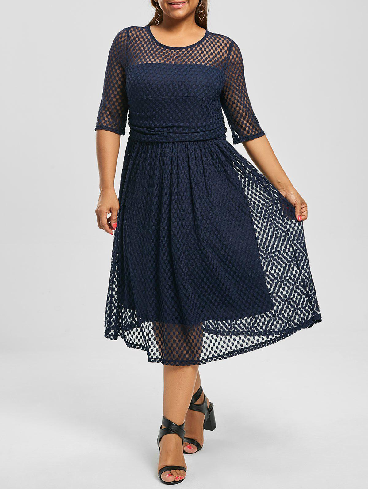Plus Size Lace A Line Midi Homecoming DressWOMEN<br><br>Size: 4XL; Color: PURPLISH BLUE; Style: Brief; Material: Polyester; Silhouette: A-Line; Dresses Length: Mid-Calf; Neckline: Round Collar; Sleeve Length: Half Sleeves; Pattern Type: Solid Color; With Belt: No; Season: Summer; Weight: 0.4000kg; Package Contents: 1 x Dress;