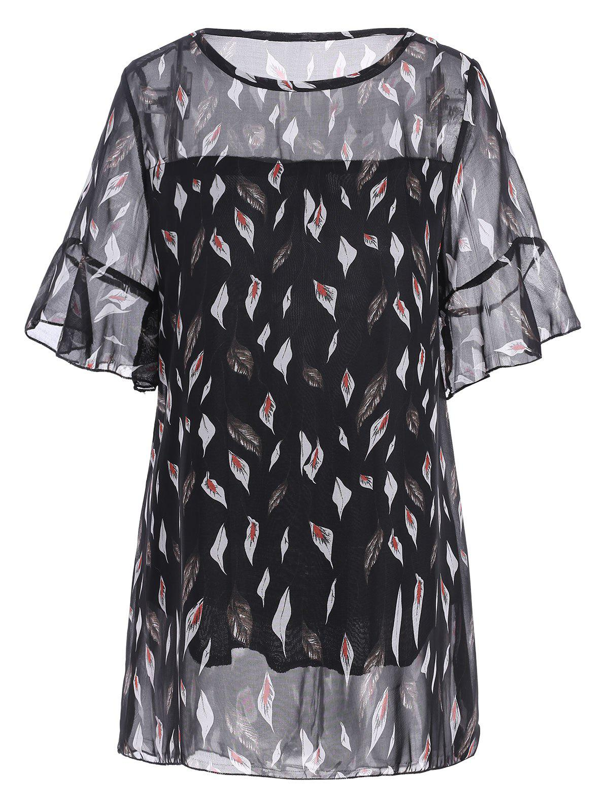 Plus Size Flowy Chiffon Printed TopWOMEN<br><br>Size: 5XL; Color: BLACK; Material: Cotton Blends,Polyester; Fabric Type: Chiffon; Shirt Length: Regular; Sleeve Length: Short; Collar: Scoop Neck; Style: Fashion; Season: Spring,Summer; Sleeve Type: Flare Sleeve; Embellishment: Ruffles; Pattern Type: Floral; Weight: 0.1800kg; Package Contents: 1 x Top;