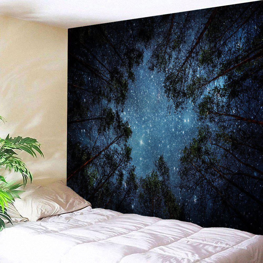 Wall Hanging Night Sky Print TapestryHOME<br><br>Size: W59 INCH * L79 INCH; Color: MIDNIGHT; Style: Natural; Theme: Landscape; Material: Polyester; Feature: Removable,Washable; Shape/Pattern: Print; Weight: 0.2800kg; Package Contents: 1 x Tapestry;