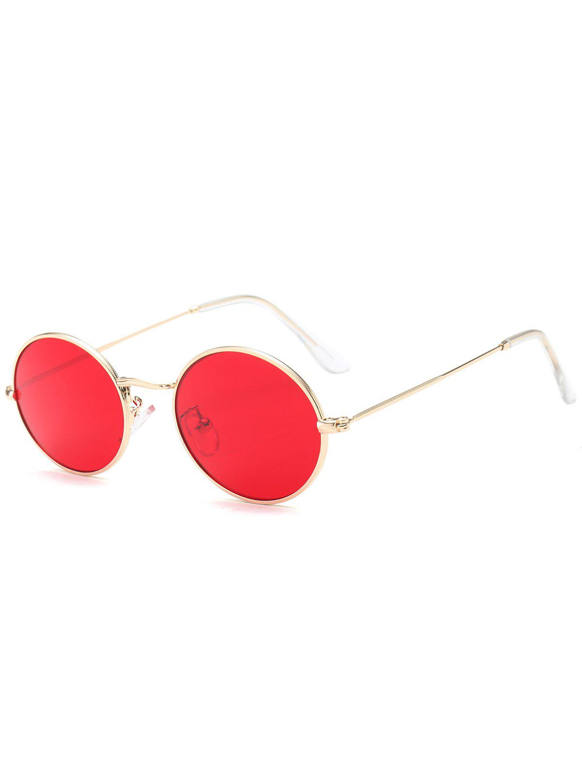Oval Metal Frame Anti UV SunglassesACCESSORIES<br><br>Color: RED; Group: Adult; Gender: For Women; Style: Fashion; Shape: Oval; Lens material: Resin; Frame material: Other; Frame Color: Gold; Lens height: 4.2CM; Lens width: 5.1CM; Temple Length: 14.0CM; Nose: 1.6CM; Frame Length: 13.0CM; Weight: 0.0900kg; Package Contents: 1 x Sunglasses;