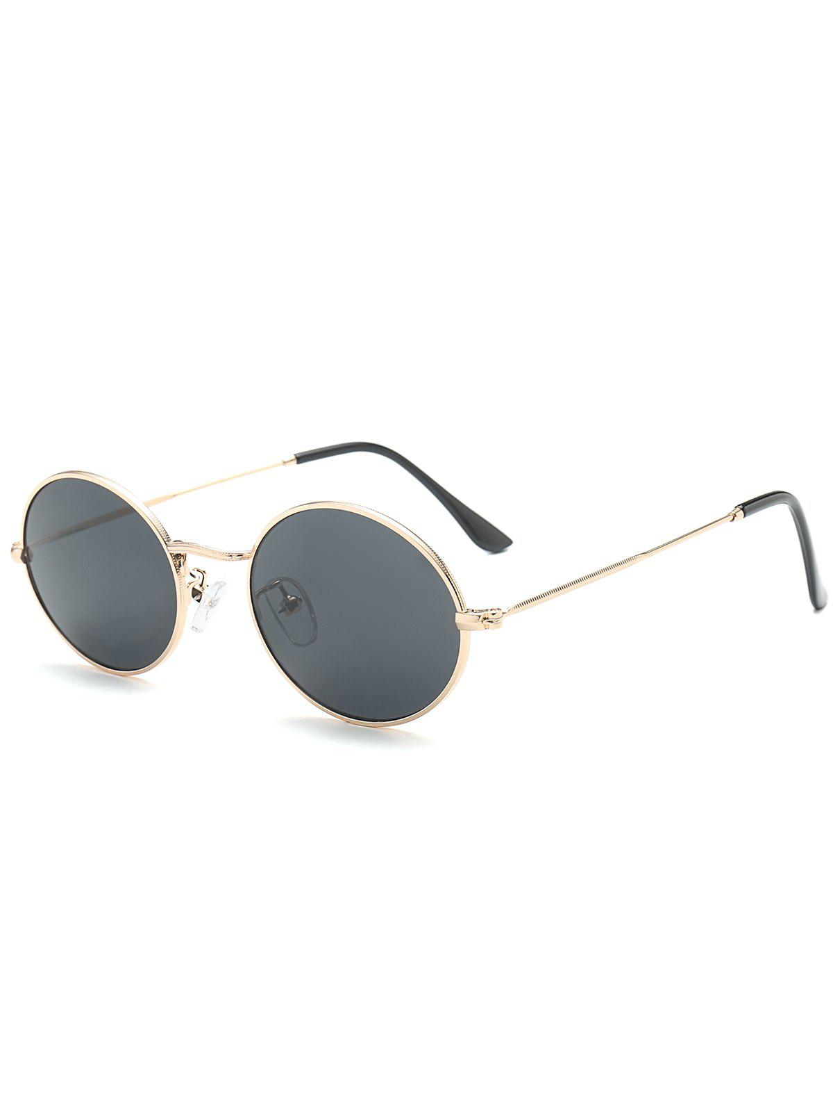 Oval Metal Frame Anti UV SunglassesACCESSORIES<br><br>Color: BLACK; Group: Adult; Gender: For Women; Style: Fashion; Shape: Oval; Lens material: Resin; Frame material: Other; Frame Color: Gold; Lens height: 4.2CM; Lens width: 5.1CM; Temple Length: 14.0CM; Nose: 1.6CM; Frame Length: 13.0CM; Weight: 0.0900kg; Package Contents: 1 x Sunglasses;