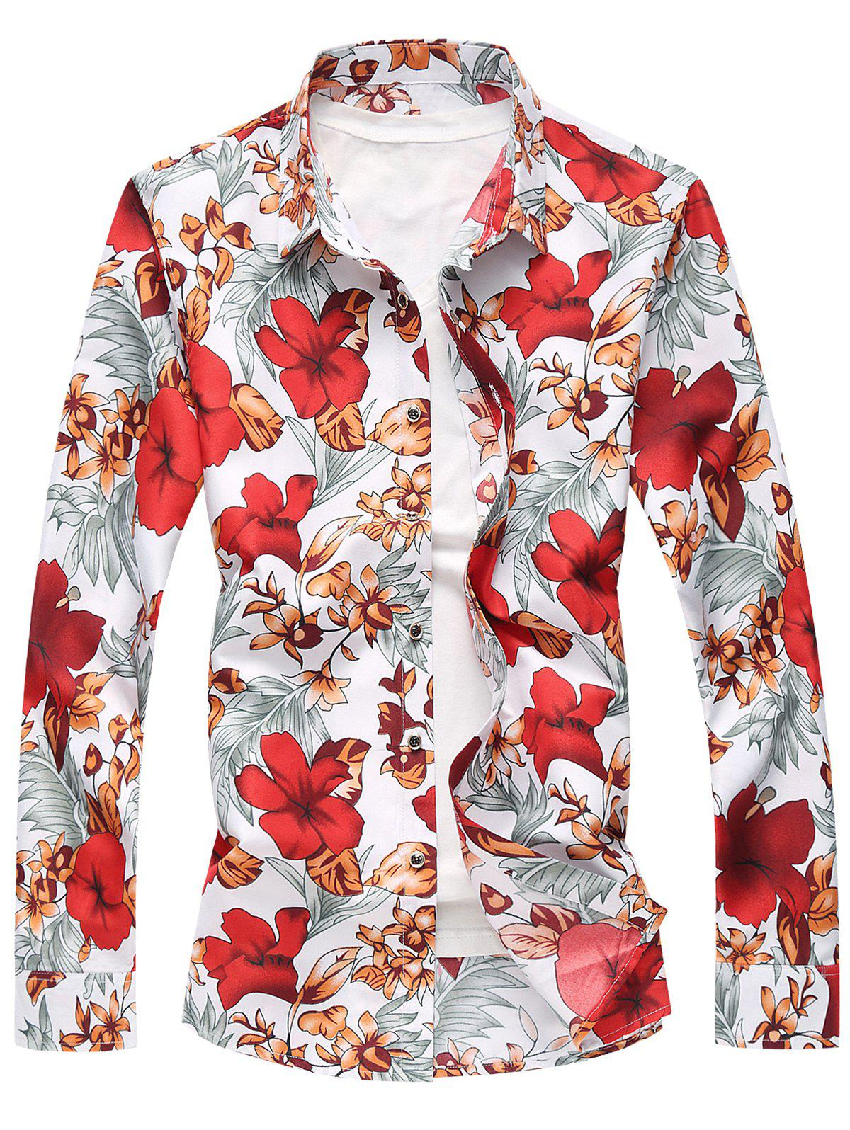 Buy Plus Size Long Sleeve Flowers and Leaves Print Shirt