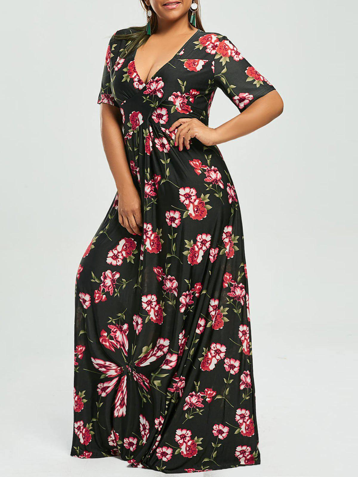 Floral Plunge Maxi Bohemian Dress for Plus SizeWOMEN<br><br>Size: 6XL; Color: BLACK; Style: Bohemian; Material: Cotton,Cotton Blend,Polyester; Silhouette: Beach; Dresses Length: Floor-Length; Neckline: V-Neck; Sleeve Length: Short Sleeves; Waist: Empire; Pattern Type: Floral,Print; With Belt: No; Season: Spring,Summer; Weight: 0.3500kg; Package Contents: 1 x Dress;