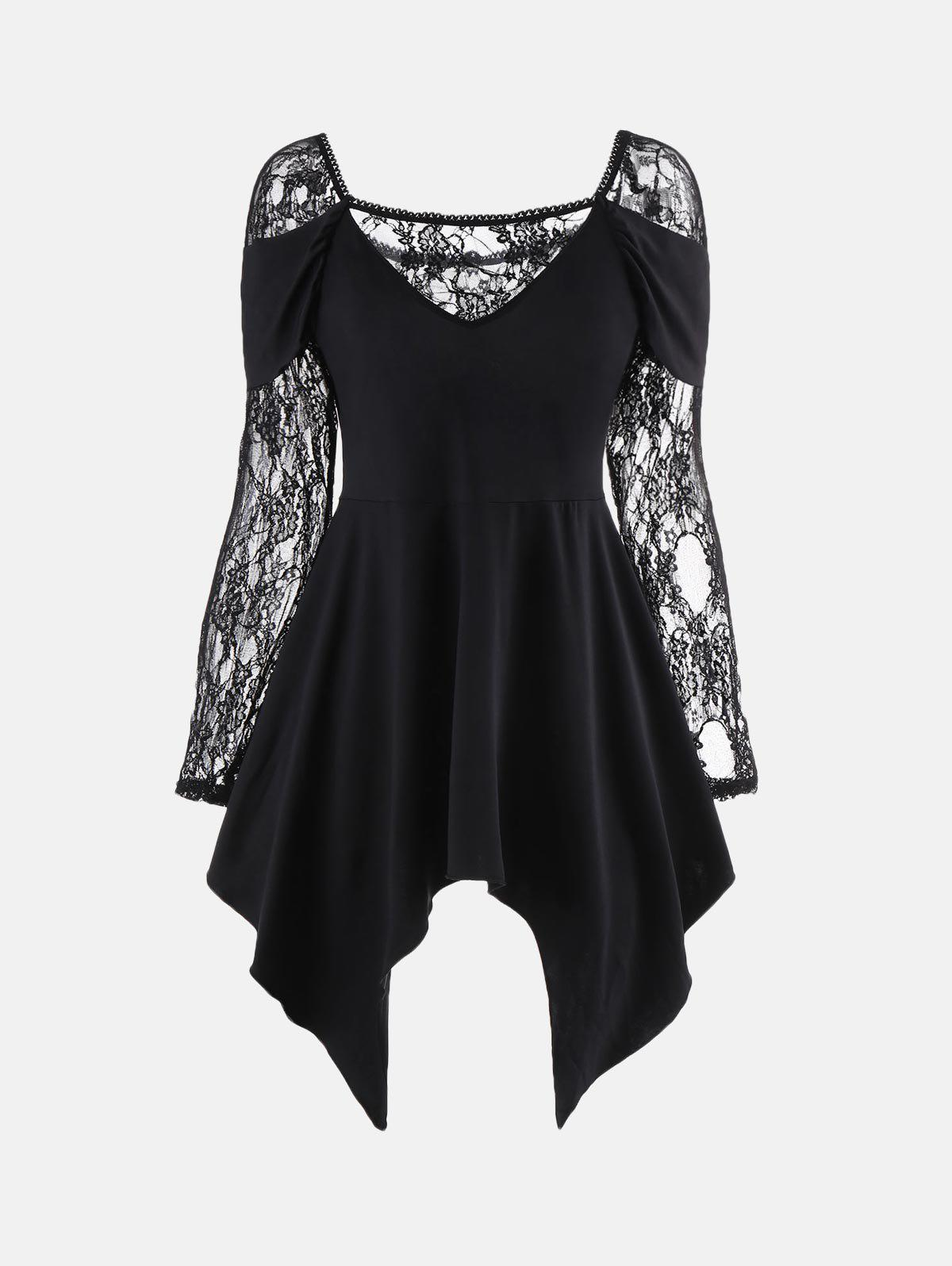 Long Lace Sleeve Handkerchief Tunic TopWOMEN<br><br>Size: XL; Color: BLACK; Material: Polyester,Spandex; Shirt Length: Regular; Sleeve Length: Full; Collar: Square Neck; Style: Fashion; Embellishment: Lace; Pattern Type: Solid Color; Season: Fall,Spring; Elasticity: Elastic; Weight: 0.3100kg; Package Contents: 1 x Top;