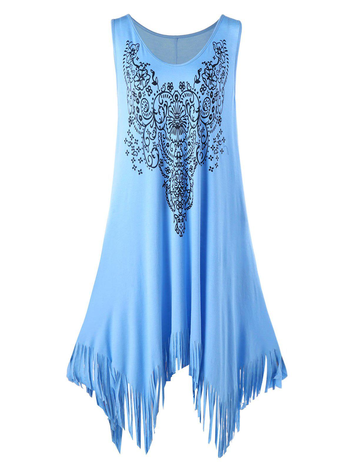 Plus Size Floral Fringed Handkerchief Flowy DressWOMEN<br><br>Size: 3XL; Color: BLUE; Style: Casual; Material: Rayon,Spandex; Silhouette: Asymmetrical; Dresses Length: Knee-Length; Neckline: Round Collar; Sleeve Length: Sleeveless; Pattern Type: Floral; With Belt: No; Season: Fall,Spring,Summer; Weight: 0.3500kg; Package Contents: 1 x Dress;