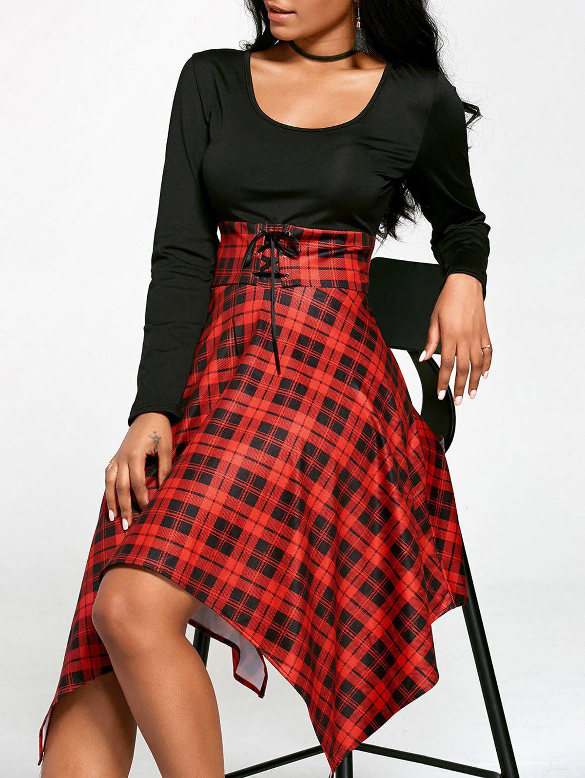 Empire Waist Long Sleeve Handkerchief DressWOMEN<br><br>Size: M; Color: BLACK&amp;RED; Style: Casual; Material: Polyester,Spandex; Silhouette: Asymmetrical; Dress Type: Fit and Flare Dress; Dresses Length: Mid-Calf; Neckline: U Neck; Sleeve Length: Long Sleeves; Waist: Empire; Embellishment: Criss-Cross; Pattern Type: Plaid; Elasticity: Elastic; With Belt: No; Season: Fall,Spring; Weight: 0.5000kg; Package Contents: 1 x Dress; Occasion: Casual;