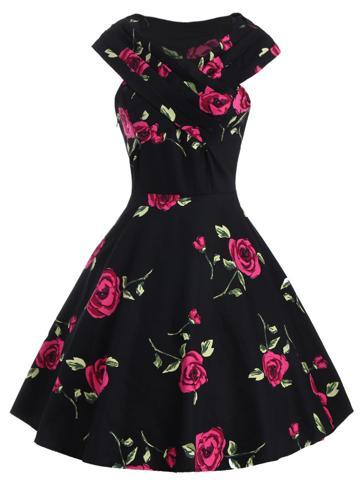 Store Retro Style V-Neck Rose Print Short Sleeve Ball Dress