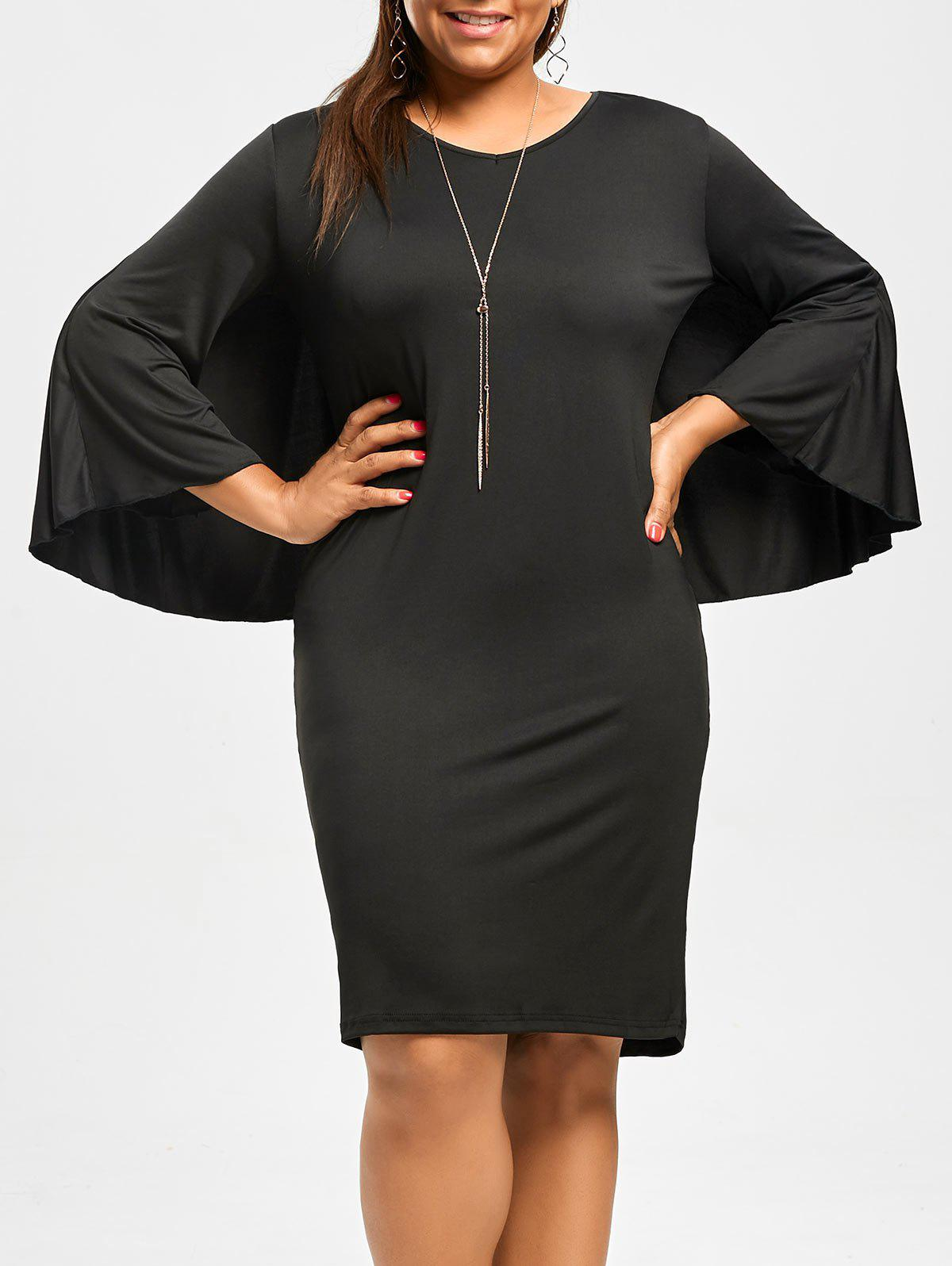 Plus Size V-Neck Modest Work Bodycon Caped DressWOMEN<br><br>Size: 2XL; Color: BLACK; Style: Sexy &amp; Club; Material: Polyester; Silhouette: Sheath; Dresses Length: Knee-Length; Neckline: V-Neck; Sleeve Length: 3/4 Length Sleeves; Pattern Type: Solid; With Belt: No; Season: Fall; Weight: 0.290kg; Package Contents: 1 x Dress;