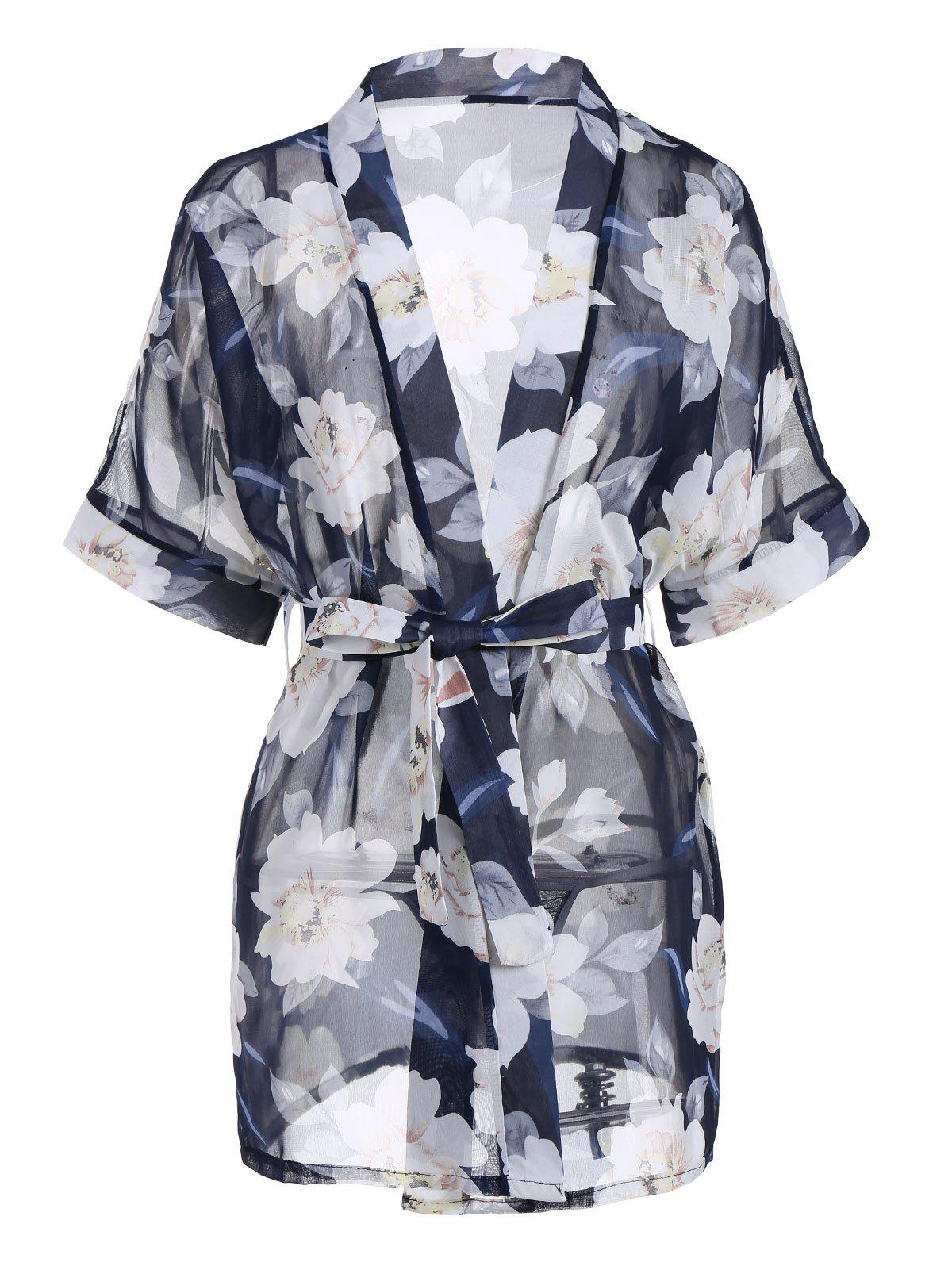 Floral Chiffon Sheer Robe with BeltWOMEN<br><br>Size: ONE SIZE; Color: CERULEAN; Material: Polyester; Pattern Type: Floral; Weight: 0.1800kg; Package Contents: 1 x Robe  1 x Belt  1 x T Back;