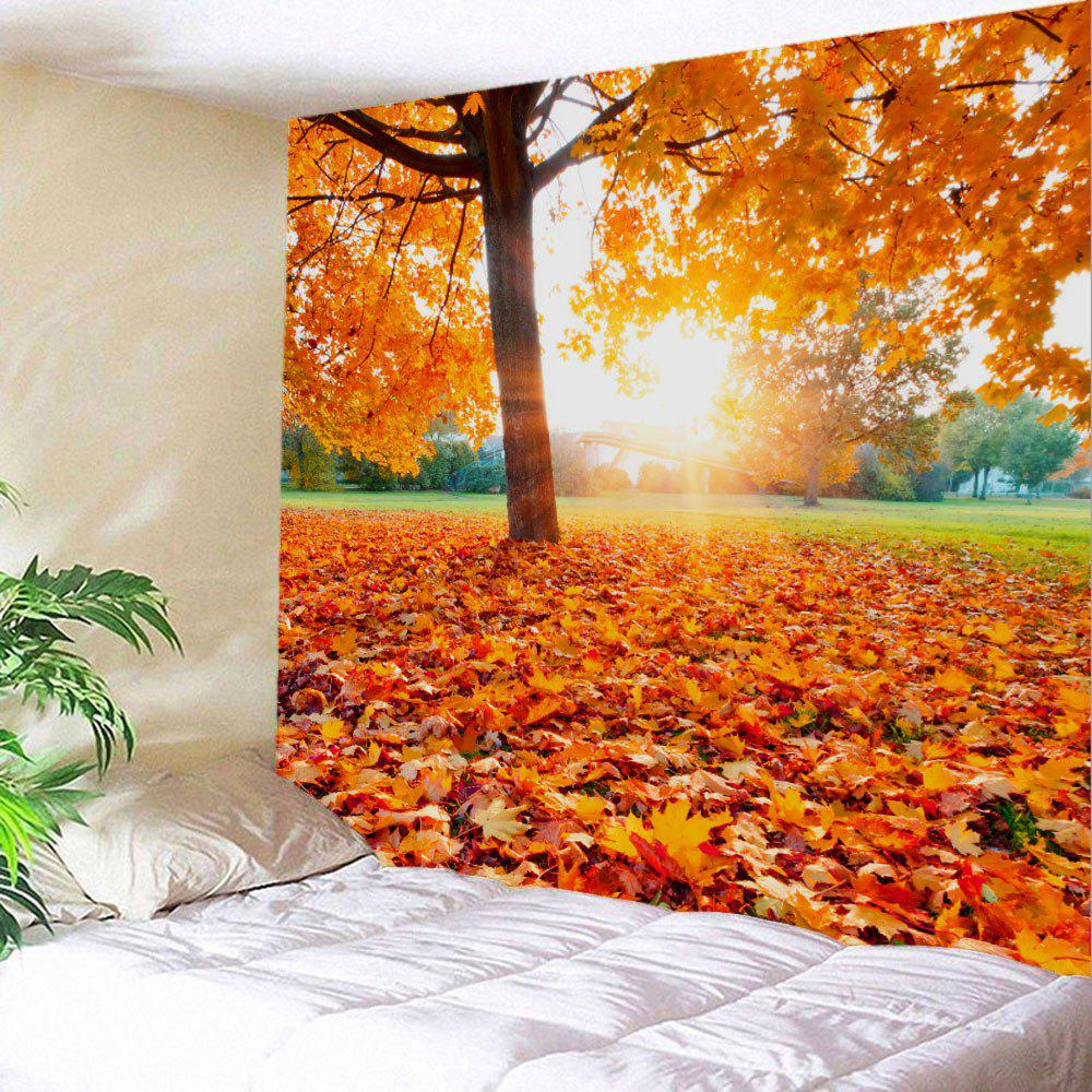 Maple Tree Leaf Sunlight Wall Hanging TapestryHOME<br><br>Size: W91 INCH * L71 INCH; Color: ORANGE; Style: Natural; Material: Polyester; Feature: Removable,Washable; Shape/Pattern: Leaf,Plant; Weight: 0.4100kg; Package Contents: 1 x Tapestry;