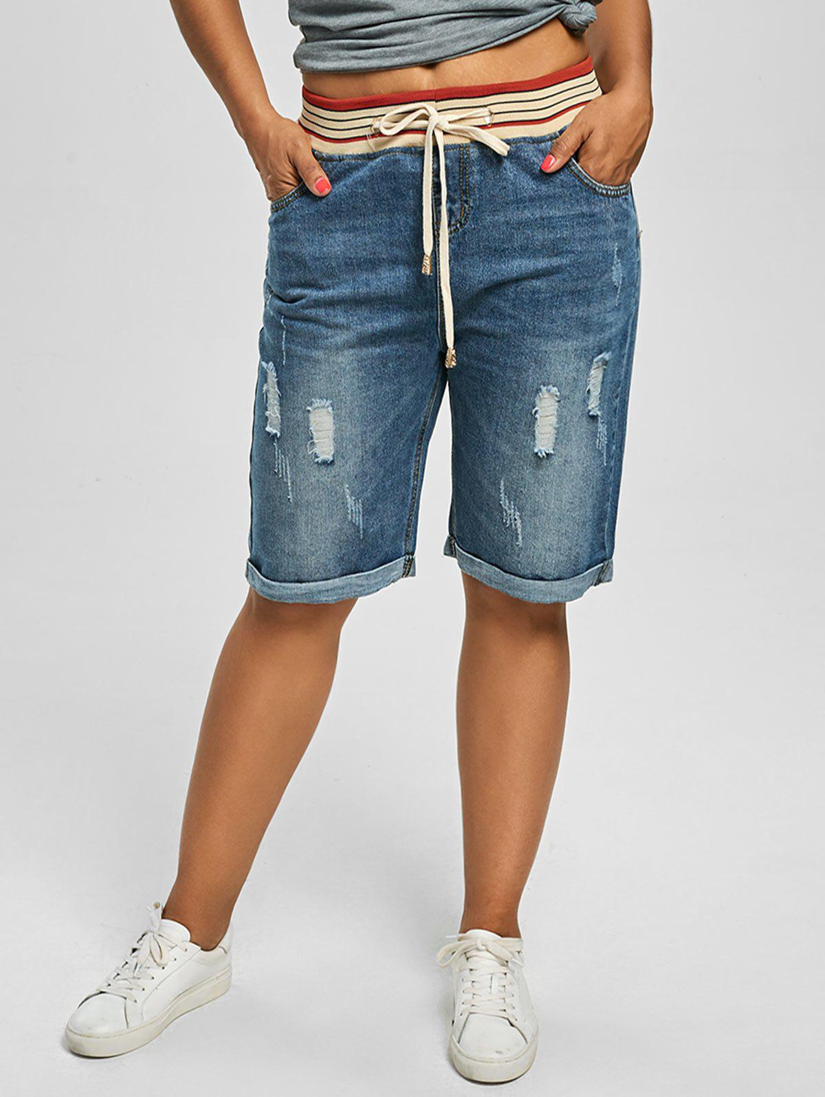 Plus Size Denim Ripped ShortsWOMEN<br><br>Size: 5XL; Color: DENIM BLUE; Style: Streetwear; Length: Knee-Length; Material: Polyester; Fit Type: Straight; Waist Type: Mid; Closure Type: Elastic Waist; Pattern Type: Others; Pant Style: Straight; With Belt: No; Weight: 0.5000kg; Package Contents: 1 x Shorts;