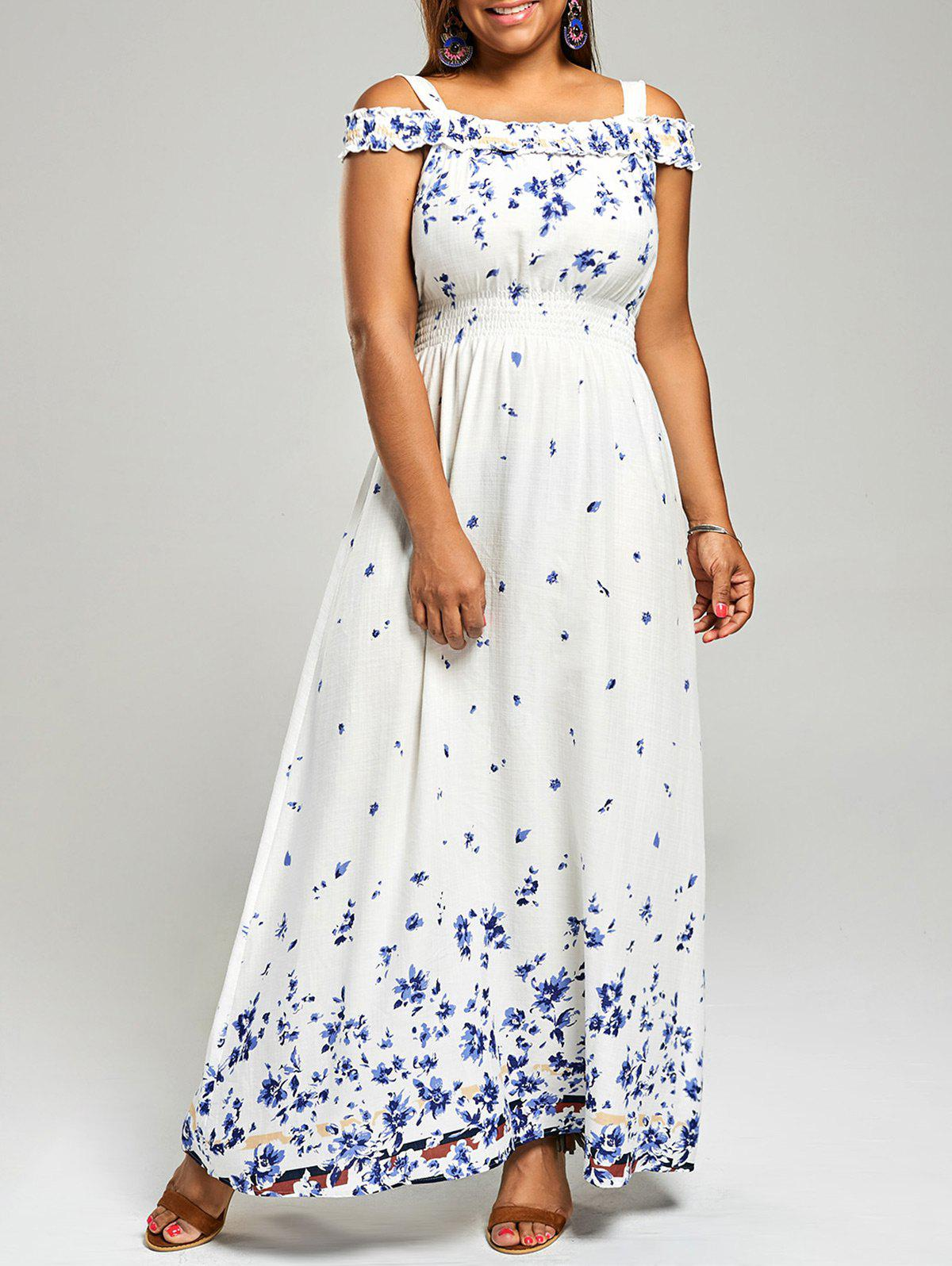 Cold Shoulder Plus Size Long Floral DressWOMEN<br><br>Size: 3XL; Color: WHITE; Style: Casual; Material: Rayon; Silhouette: A-Line; Dresses Length: Floor-Length; Neckline: Square Collar; Sleeve Type: Cold Shoulder; Sleeve Length: Short Sleeves; Waist: Empire; Pattern Type: Floral; With Belt: No; Season: Fall,Spring,Summer; Weight: 0.2700kg; Package Contents: 1 x Dress;