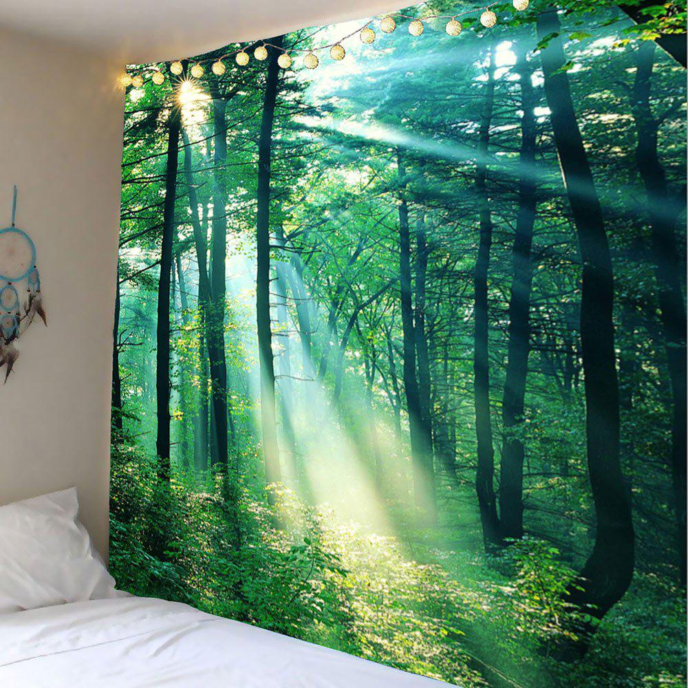 Home Decor Sunlight Forest Wall Hanging TapestryHOME<br><br>Size: W91 INCH * L71 INCH; Color: GREEN; Style: Natural; Material: Polyester; Feature: Removable,Washable; Shape/Pattern: Plant; Weight: 0.4100kg; Package Contents: 1 x Tapestry;