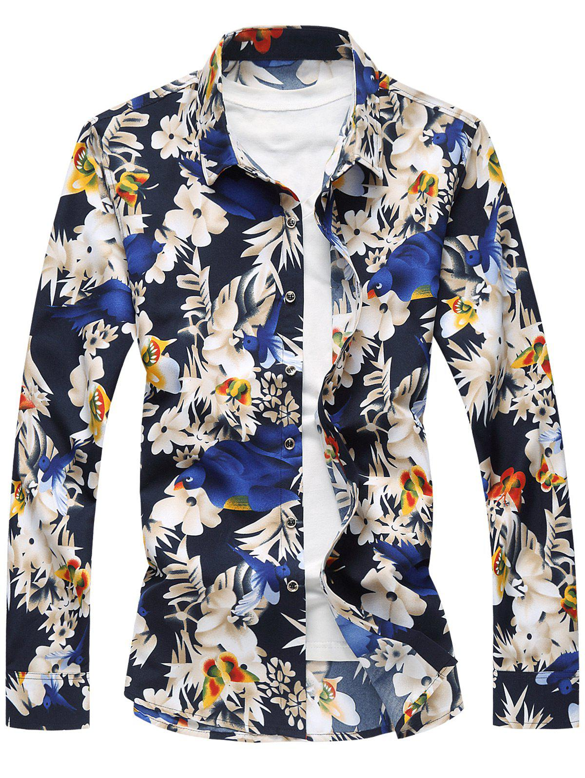 Best Plus Size Long Sleeve Flowers and Birds Print Shirt