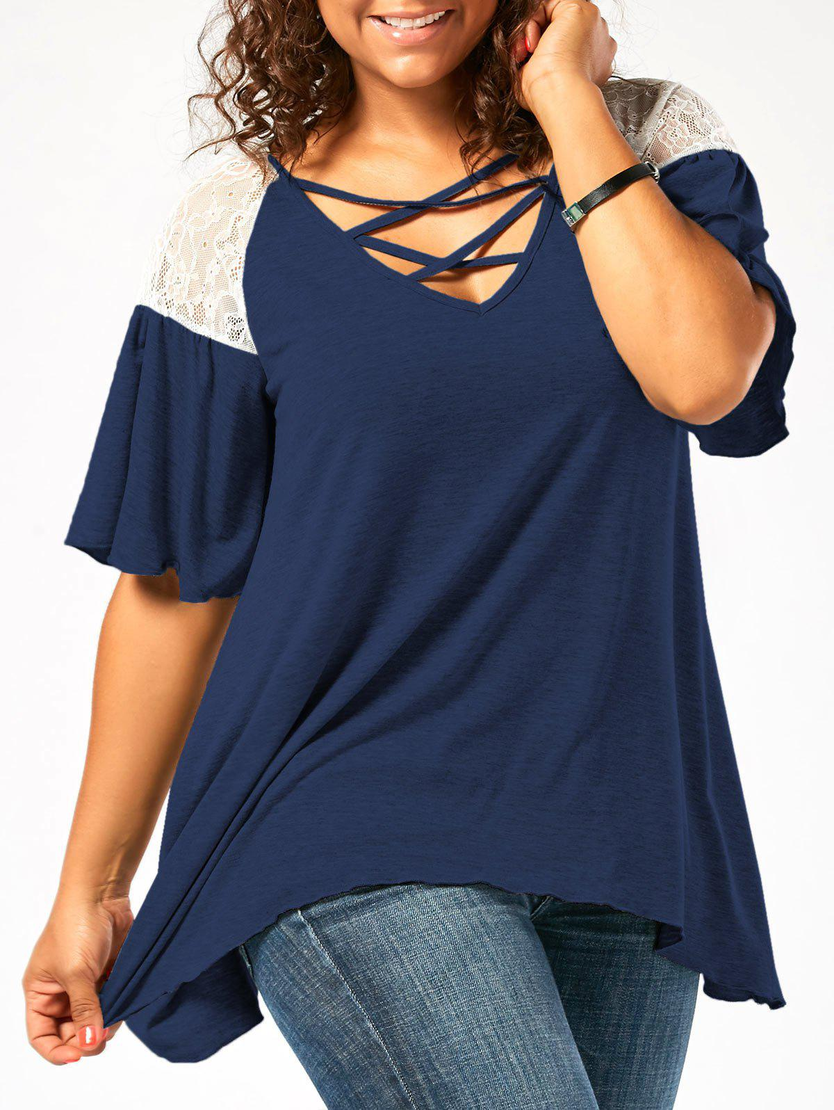 Criss Cross Drop Shoulder Plus Size Tunic T-ShirtWOMEN<br><br>Size: 4XL; Color: CERULEAN; Material: Polyester,Spandex; Shirt Length: Regular; Sleeve Length: Half; Collar: V-Neck; Style: Casual; Season: Fall,Spring,Summer; Sleeve Type: Flare Sleeve; Embellishment: Lace; Pattern Type: Solid; Elasticity: Elastic; Weight: 0.2600kg; Package Contents: 1 x T-Shirt;