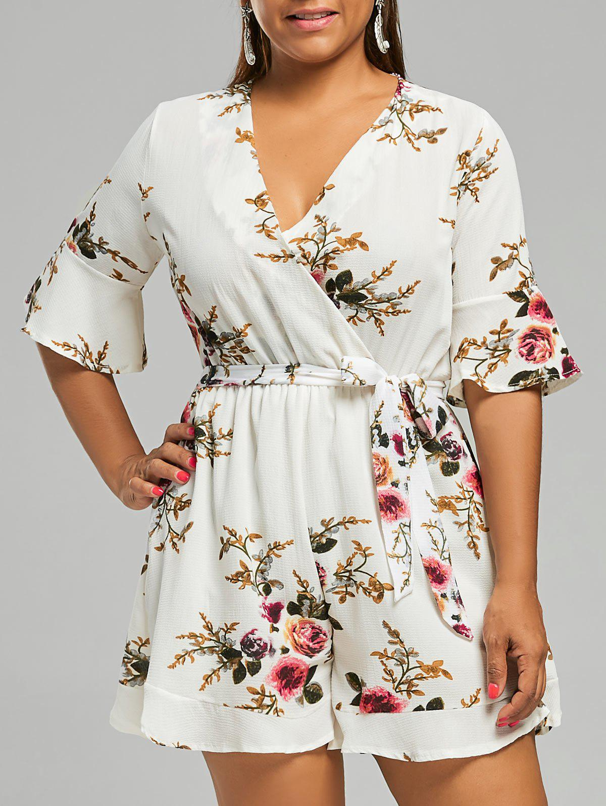 Outfit Belted Plus Size Floral Chiffon Dressy Romper