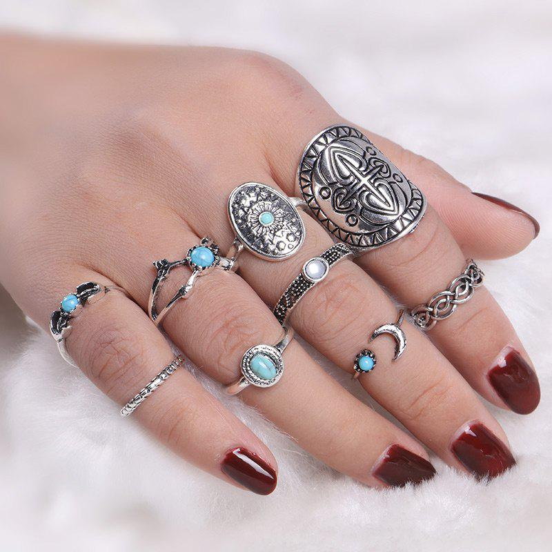 Faux Turquoise Oval Moon Ring SetJEWELRY<br><br>Color: SILVER; Gender: For Women; Metal Type: Alloy; Style: Trendy; Shape/Pattern: Arrow,Geometric,Moon; Weight: 0.0450kg; Package Contents: 9 x Rings (Piece);