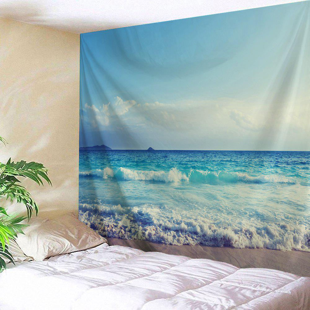 Sea Wave Wall Hanging Decorative TapestryHOME<br><br>Size: W59 INCH * L79 INCH; Color: SKY BLUE; Style: Beach Style; Theme: Landscape; Material: Polyester; Feature: Removable,Washable; Shape/Pattern: Print; Weight: 0.2700kg; Package Contents: 1 x Tapestry;