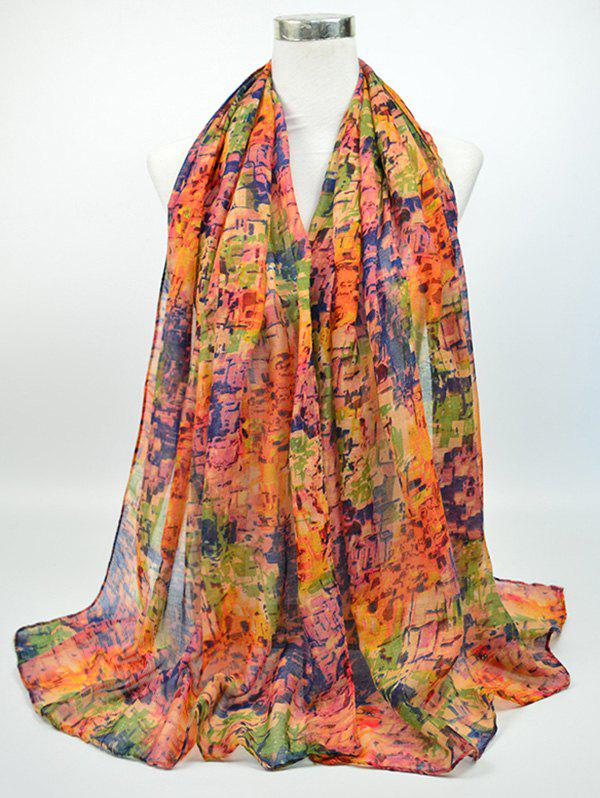 Voile Nostalgic Pattern Gossamer Shawl ScarfACCESSORIES<br><br>Color: BLUE AND RED; Scarf Type: Scarf; Group: Adult; Gender: For Women; Style: Vintage; Pattern Type: Print; Season: Fall,Spring,Summer,Winter; Scarf Length: 180CM; Scarf Width (CM): 85CM; Weight: 0.0500kg; Package Contents: 1 x Scarf;