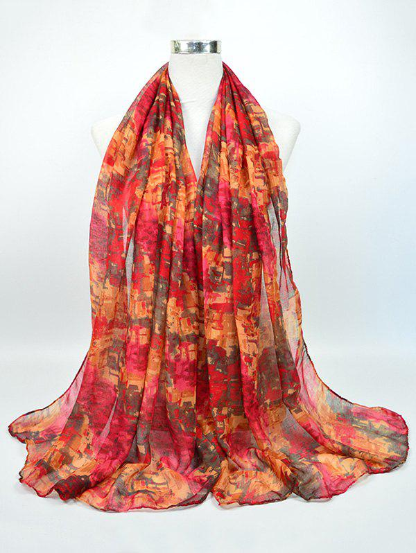 Voile Nostalgic Pattern Gossamer Shawl ScarfACCESSORIES<br><br>Color: RED; Scarf Type: Scarf; Group: Adult; Gender: For Women; Style: Vintage; Pattern Type: Print; Season: Fall,Spring,Summer,Winter; Scarf Length: 180CM; Scarf Width (CM): 85CM; Weight: 0.0500kg; Package Contents: 1 x Scarf;