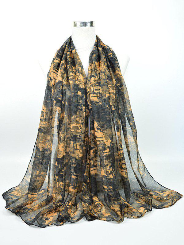 Voile Nostalgic Pattern Gossamer Shawl ScarfACCESSORIES<br><br>Color: BLACK GREY; Scarf Type: Scarf; Group: Adult; Gender: For Women; Style: Vintage; Pattern Type: Print; Season: Fall,Spring,Summer,Winter; Scarf Length: 180CM; Scarf Width (CM): 85CM; Weight: 0.0500kg; Package Contents: 1 x Scarf;