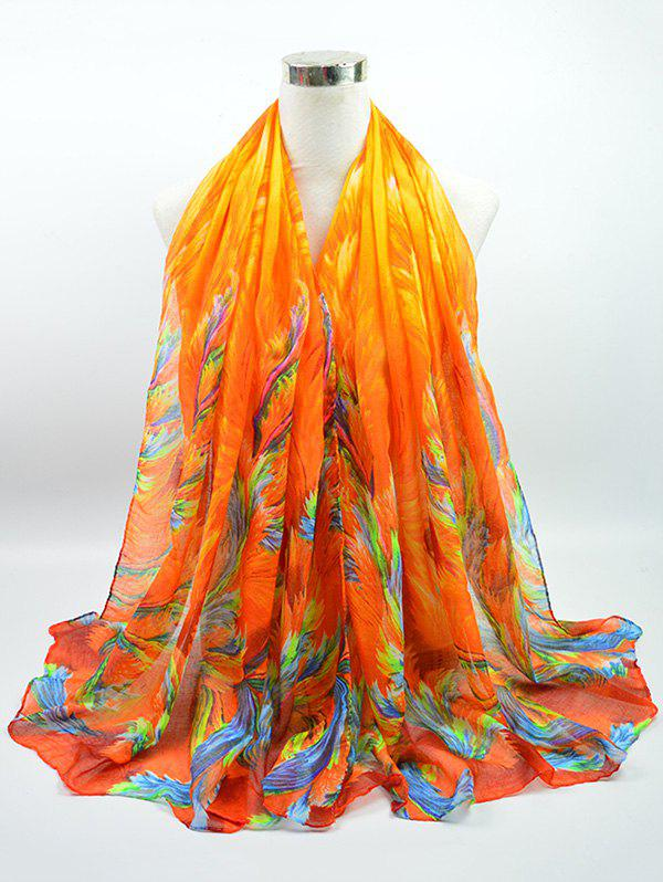 Voile Multicolor Watercolour Printing Gossamer Shawl ScarfACCESSORIES<br><br>Color: BRIGHT ORANGE; Scarf Type: Scarf; Group: Adult; Gender: For Women; Style: Vintage; Pattern Type: Print; Season: Fall,Spring,Summer,Winter; Scarf Length: 180CM; Scarf Width (CM): 85CM; Weight: 0.0500kg; Package Contents: 1 x Scarf;