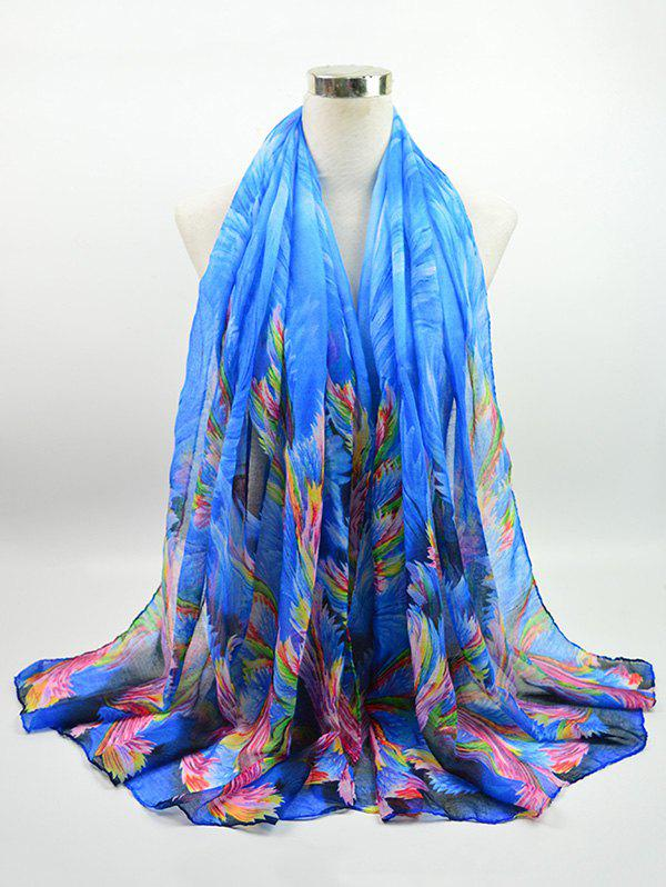 Voile Multicolor Watercolour Printing Gossamer Shawl ScarfACCESSORIES<br><br>Color: BLUE; Scarf Type: Scarf; Group: Adult; Gender: For Women; Style: Vintage; Pattern Type: Print; Season: Fall,Spring,Summer,Winter; Scarf Length: 180CM; Scarf Width (CM): 85CM; Weight: 0.0500kg; Package Contents: 1 x Scarf;