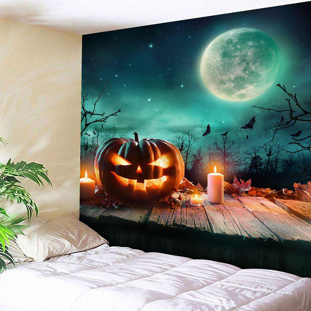 Halloween Moon Candle Pumpkin Waterproof TapestryHOME<br><br>Size: W91 INCH * L71 INCH; Color: COLORFUL; Style: Gothic; Material: Velvet; Feature: Removable,Washable; Shape/Pattern: Moon,Print; Weight: 0.4100kg; Package Contents: 1 x Tapestry;
