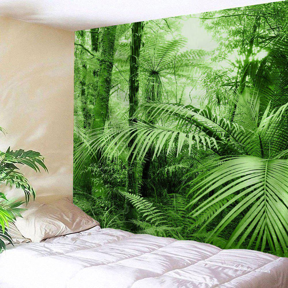 Tropical Plants Bedroom Wall Decor TapestryHOME<br><br>Size: W71 INCH * L79 INCH; Color: GREEN; Style: Natural; Theme: Landscape; Material: Polyester; Feature: Removable,Washable; Shape/Pattern: Plant,Print; Weight: 0.3100kg; Package Contents: 1 x Tapestry;