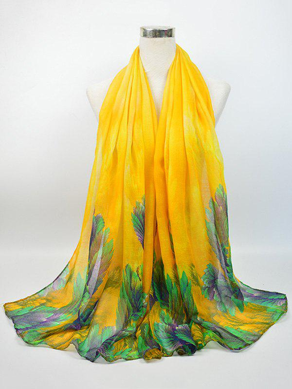 Voile Vintage Blossom Pattern Gossamer ScarfACCESSORIES<br><br>Color: YELLOW; Scarf Type: Scarf; Group: Adult; Gender: For Women; Style: Vintage; Pattern Type: Floral; Season: Fall,Spring,Summer,Winter; Scarf Length: 180CM; Scarf Width (CM): 85CM; Weight: 0.0500kg; Package Contents: 1 x Scarf;