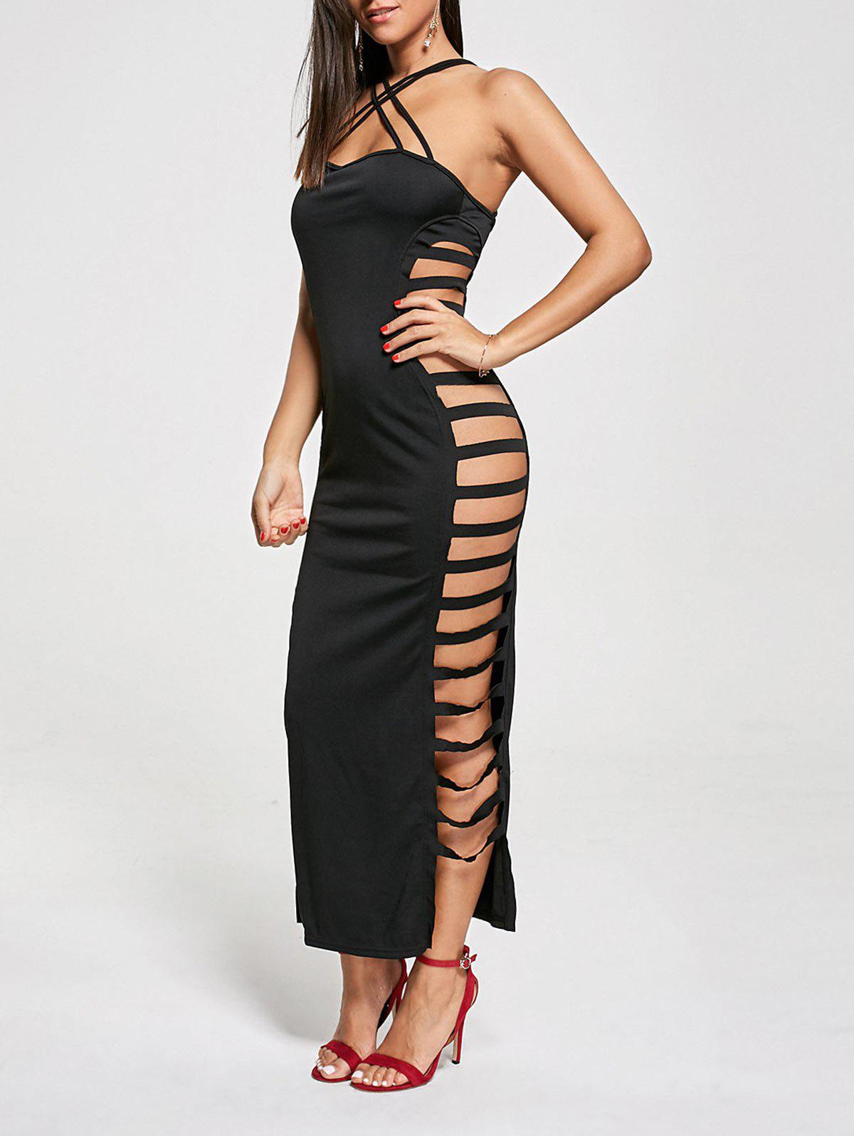 Backless Criss Cross Cut Out Maxi Club Hot DressWOMEN<br><br>Size: XL; Color: BLACK; Style: Sexy &amp; Club; Material: Polyester,Spandex; Silhouette: Bodycon; Dresses Length: Ankle-Length; Neckline: Spaghetti Strap; Sleeve Length: Sleeveless; Embellishment: Criss-Cross,Cut Out; Pattern Type: Solid Color; With Belt: No; Season: Summer; Weight: 0.3000kg; Package Contents: 1 x Dress; Occasion: Club,Night Out;