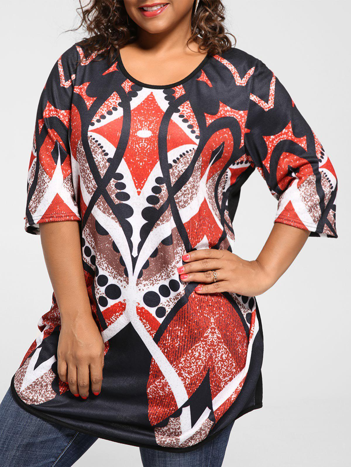 303ee4469c6 2019 Plus Size Print Tunic Knit Top