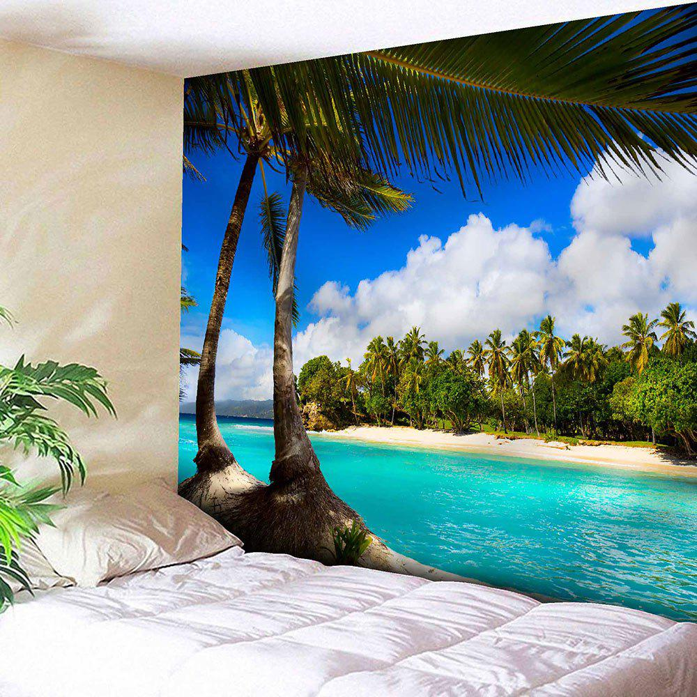 Seaside Coconut Tree Wall Hanging TapestryHOME<br><br>Size: W91 INCH * L71 INCH; Color: BLUE; Style: Natural; Theme: Landscape; Material: Nylon,Polyester; Feature: Removable,Washable; Shape/Pattern: Plant,Print; Weight: 0.3750kg; Package Contents: 1 x Tapestry;