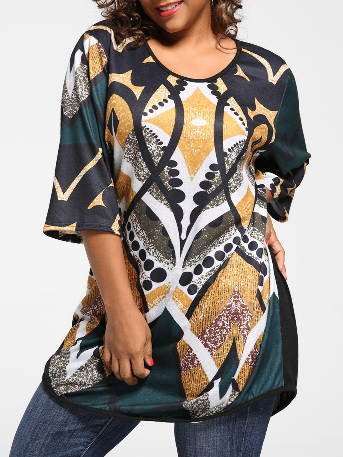Plus Size Print Tunic Knit TopWOMEN<br><br>Size: 5XL; Color: YELLOW; Material: Acrylic,Polyester,Spandex; Shirt Length: Regular; Sleeve Length: Three Quarter; Collar: Scoop Neck; Style: Casual; Season: Fall,Spring; Pattern Type: Print; Elasticity: Elastic; Weight: 0.3100kg; Package Contents: 1 x Top;