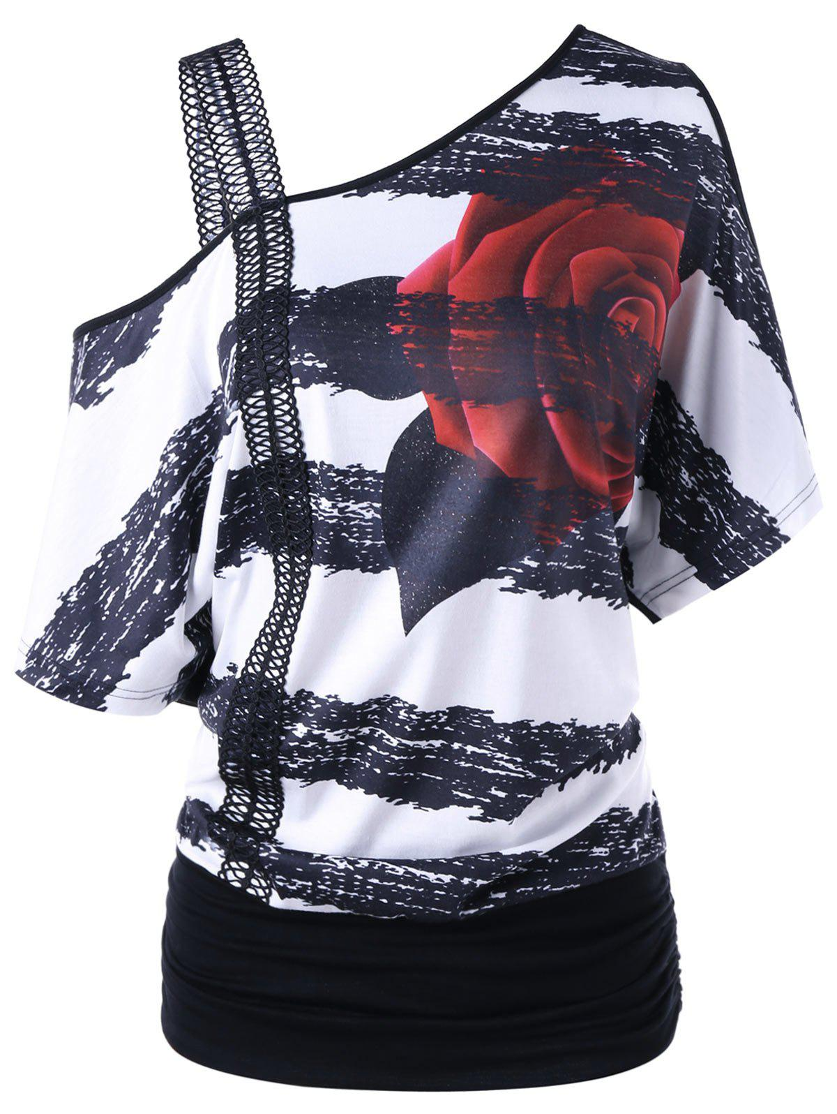 Skew Neck Floral Print TeeWOMEN<br><br>Size: XL; Color: BLACK WHITE; Material: Polyester,Spandex; Shirt Length: Long; Sleeve Length: Short; Collar: Skew Collar; Style: Fashion; Season: Fall,Spring,Summer; Pattern Type: Floral; Weight: 0.2560kg; Package Contents: 1 x T-shirt;