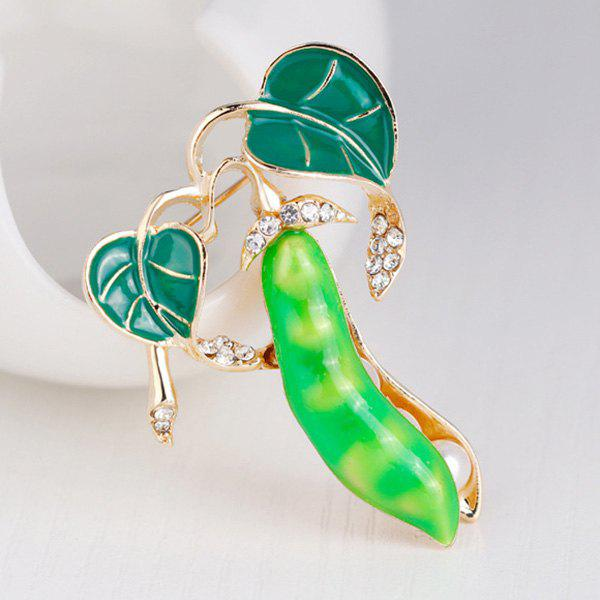 Faux Pearl Rhinestone Inlay Legume Enamel BroochJEWELRY<br><br>Color: LIGHT GREEN; Brooch Type: Brooch; Gender: For Women; Style: Trendy; Shape/Pattern: Plant; Length: 3.4 x 4.2cm; Weight: 0.0310kg; Package Contents: 1 x Brooch;
