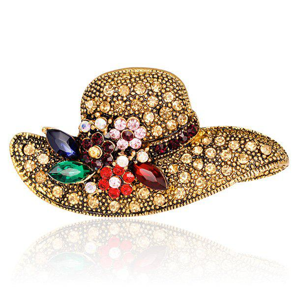 Retro Rhinestone Inlaid Sun Hat Shape BroochJEWELRY<br><br>Color: GOLDEN; Brooch Type: Brooch; Gender: For Women; Style: Trendy; Shape/Pattern: Others; Length: 5.0 x 2.7cm; Weight: 0.0330kg; Package Contents: 1 x Brooch;