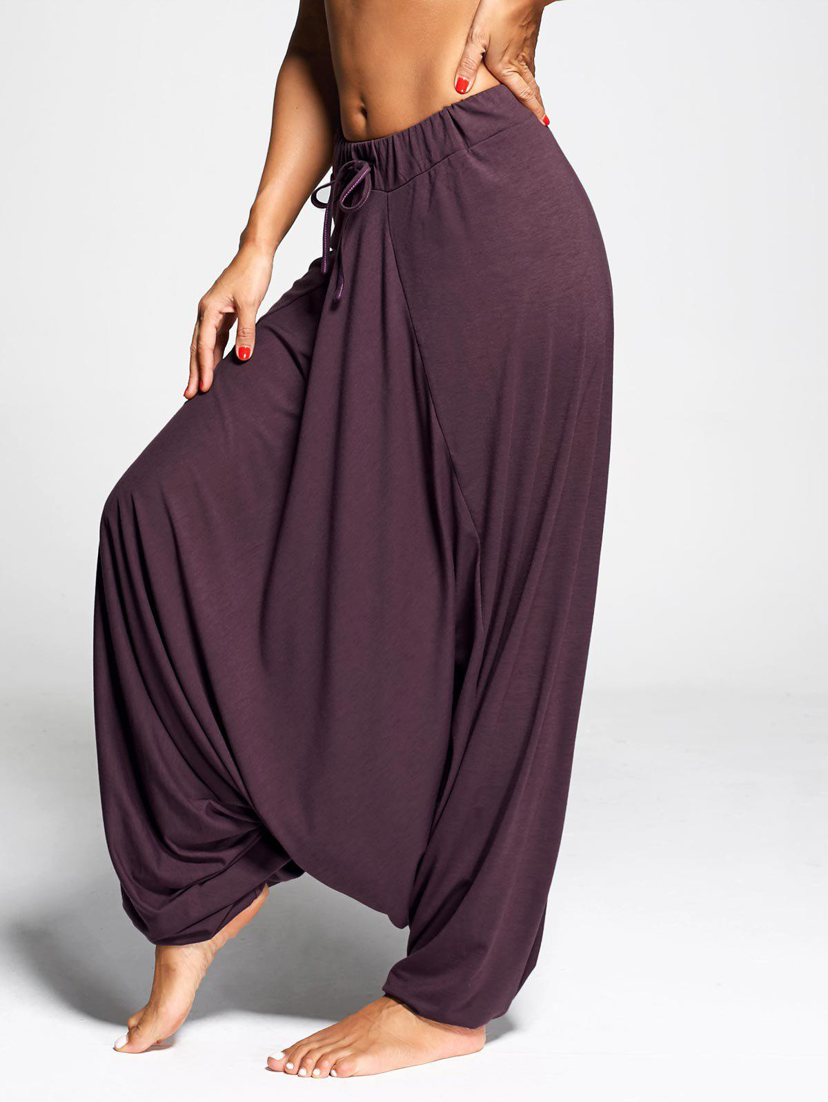 Chic Drawstring Drop Bottom Harem Pants