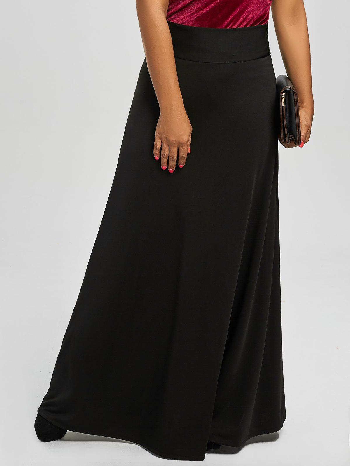 High Waist Plus Size Maxi SkirtWOMEN<br><br>Size: 5XL; Color: BLACK; Material: Cotton,Cotton Blends,Polyester; Length: Floor-Length; Silhouette: A-Line; Pattern Type: Solid; Season: Fall,Spring; Weight: 0.5500kg; Package Contents: 1 x Skirt;