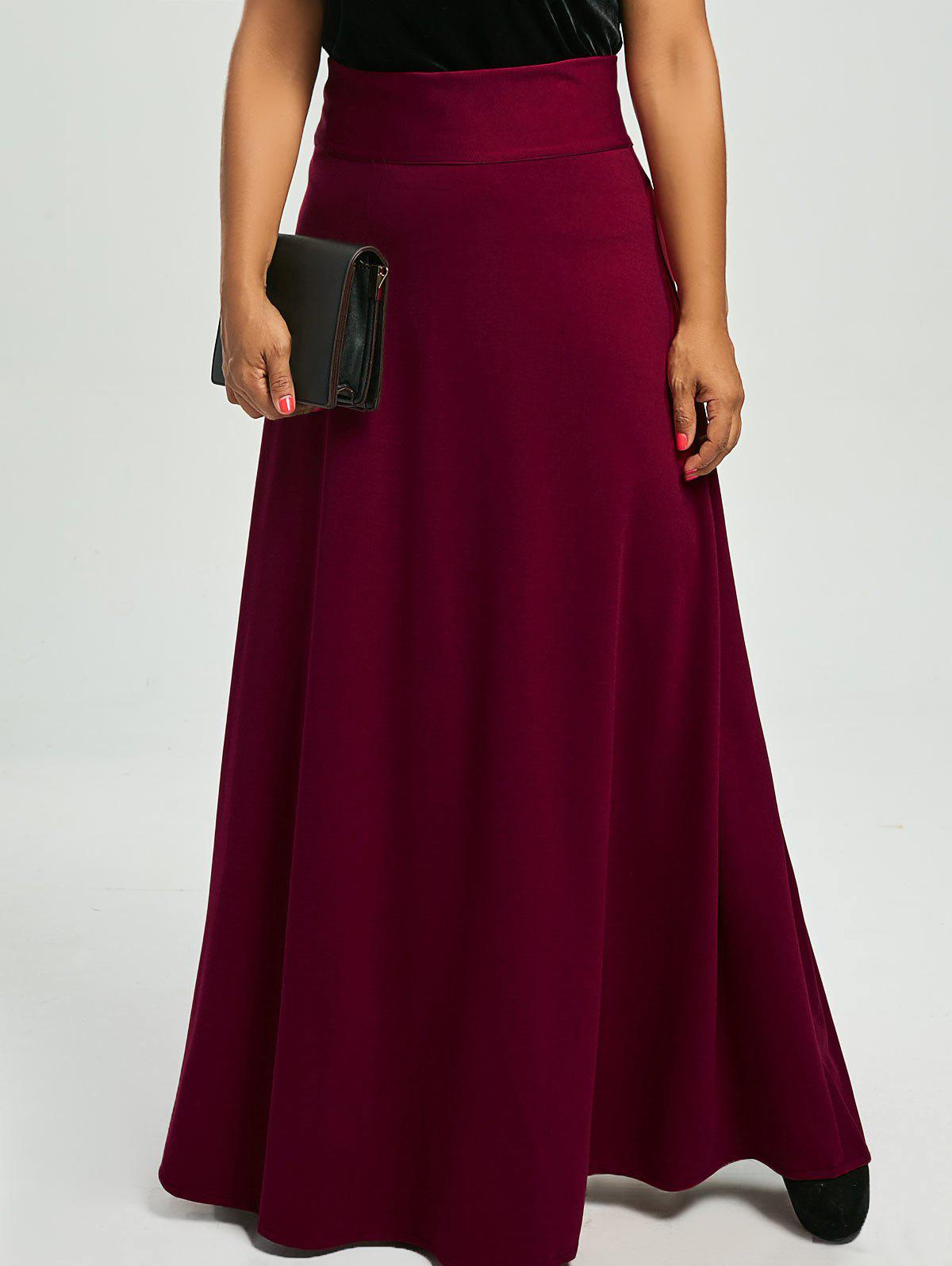 High Waist Plus Size Maxi SkirtWOMEN<br><br>Size: 4XL; Color: WINE RED; Material: Cotton,Cotton Blends,Polyester; Length: Floor-Length; Silhouette: A-Line; Pattern Type: Solid; Season: Fall,Spring; Weight: 0.5500kg; Package Contents: 1 x Skirt;