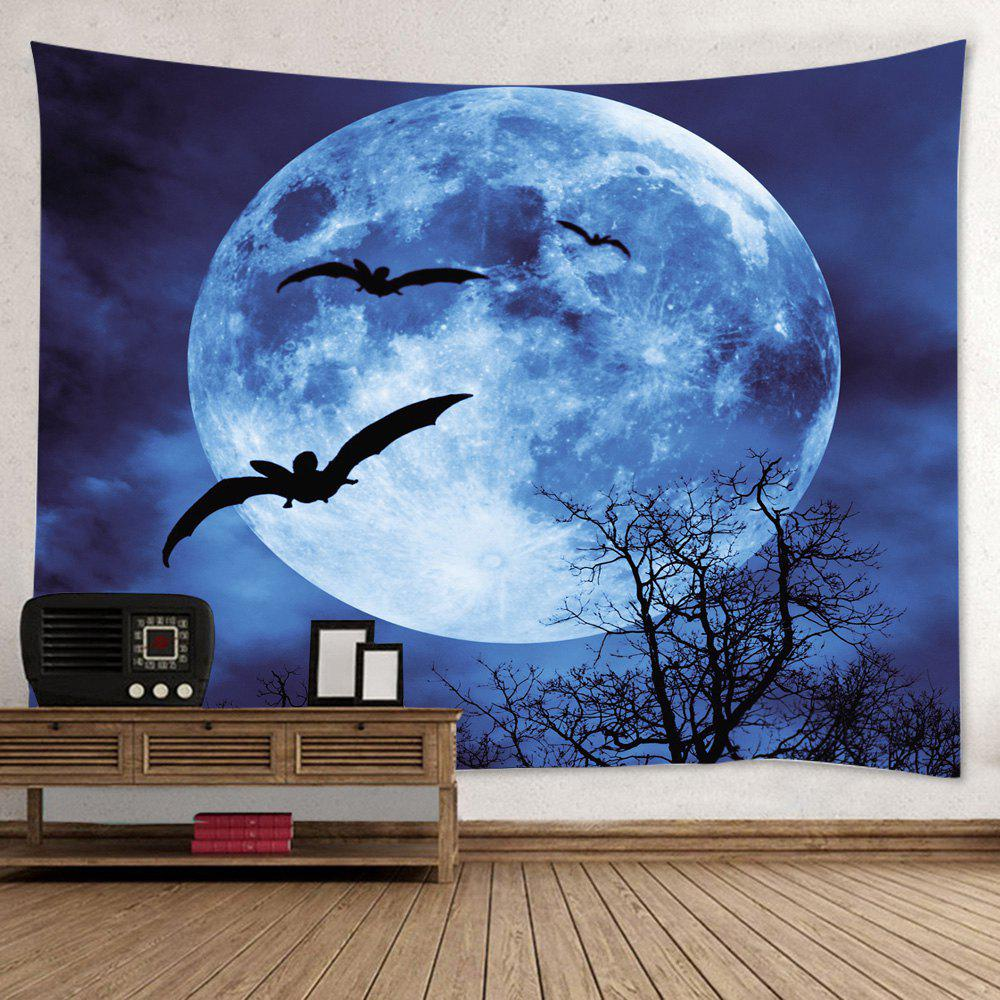 Halloween Moon Bat Print Tapestry Wall Hanging Art DecorationHOME<br><br>Size: W79 INCH * L59 INCH; Color: DEEP BLUE; Style: Festival; Theme: Animals; Material: Polyester; Feature: Washable; Shape/Pattern: Animal,Moon; Weight: 0.4500kg; Package Contents: 1 x Tapestry;