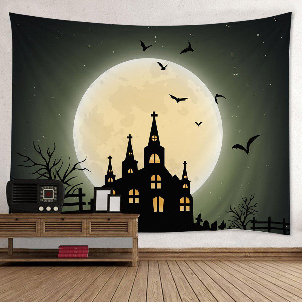 Black W79 Inch * L59 Inch Halloween Moon Castle Print Tapestry Wall ...