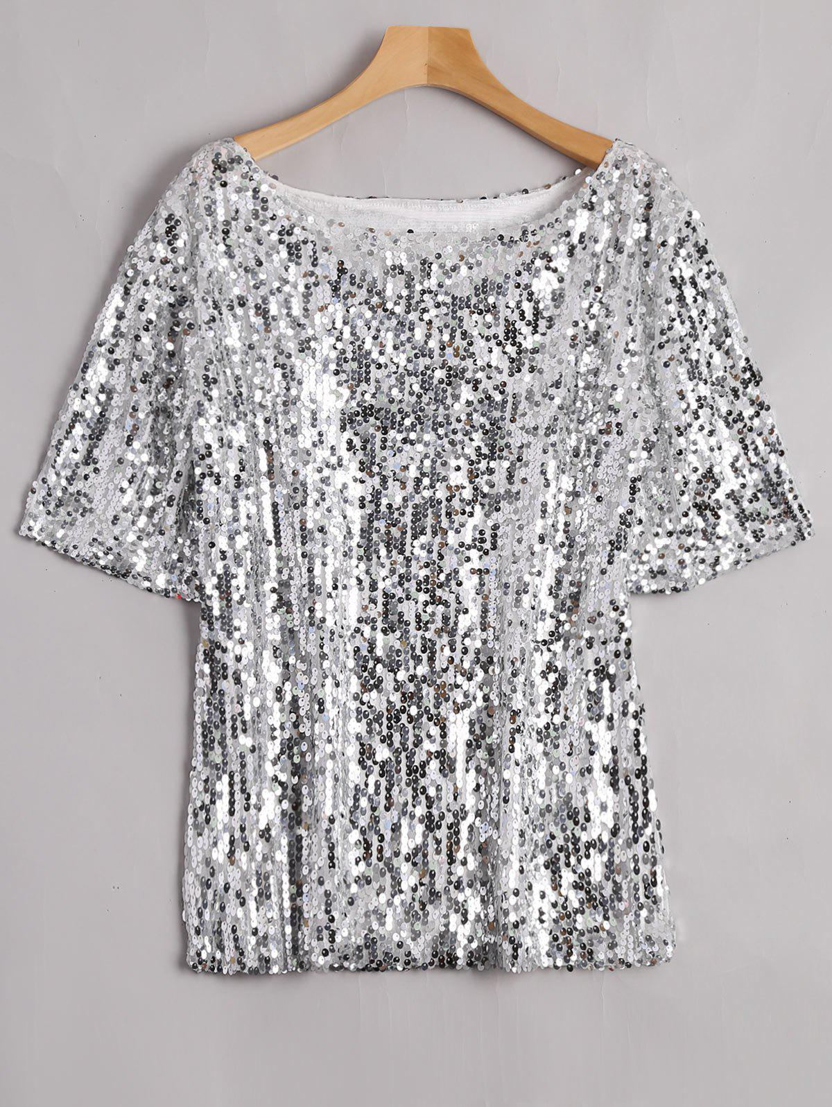 Plus Size Glitter Sequined T-shirtWOMEN<br><br>Size: 5XL; Color: SILVER; Material: Cotton Blends,Polyester; Shirt Length: Regular; Sleeve Length: Short; Collar: Scoop Neck; Style: Streetwear; Season: Spring,Summer; Embellishment: Sequins; Pattern Type: Solid; Weight: 0.3900kg; Package Contents: 1 x Tee;